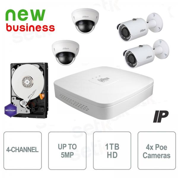 Video surveillance kit 4 channels IP 8MP + Cam PoE + HD - Business Series - Dahu