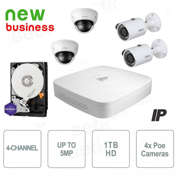 Kit Videosorveglianza 4 Canali IP 8MP + Cam PoE + HD - Serie Business - Dahua