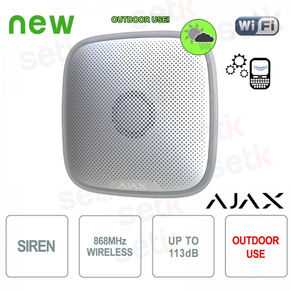 Ajax Sirena allarme esterna senza fili 868MHz