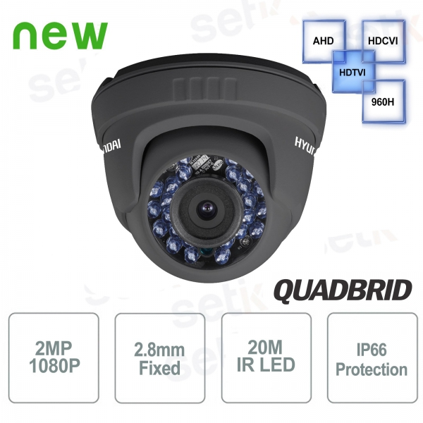 Telecamera Videosorveglianza Hyundai 2 MP 4 in 1 Dome 2.8mm IR Dark Grey
