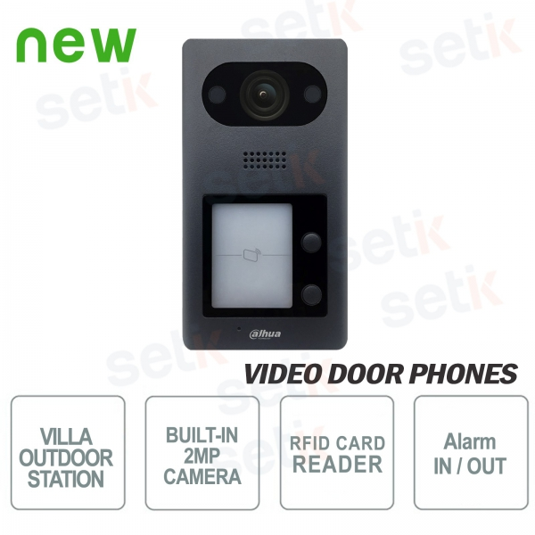 Dahua IP PoE video door phone 2 MP camera, 2 buttons and RFID reader