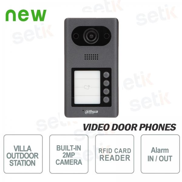 Videocitofono IP PoE Dahua Telecamera 2 MP, 4 pulsanti e Lettore RFID