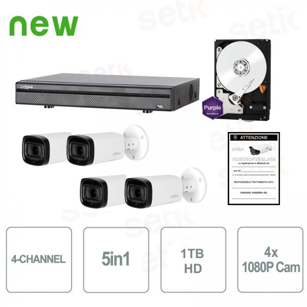 HDCVI Video surveillance KIT 4 Cameras Infrared 1080P + DVR 5in1 + 1TB HDD - Home Series - Dahua