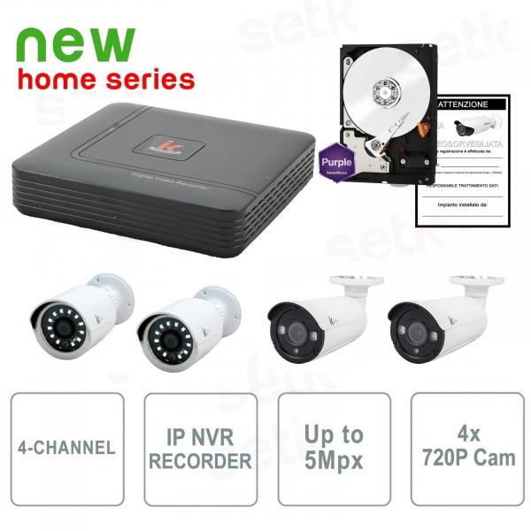 Kit Videosorveglianza 4 Canali IP 2Mpx 4 Cam + HD - Serie Home