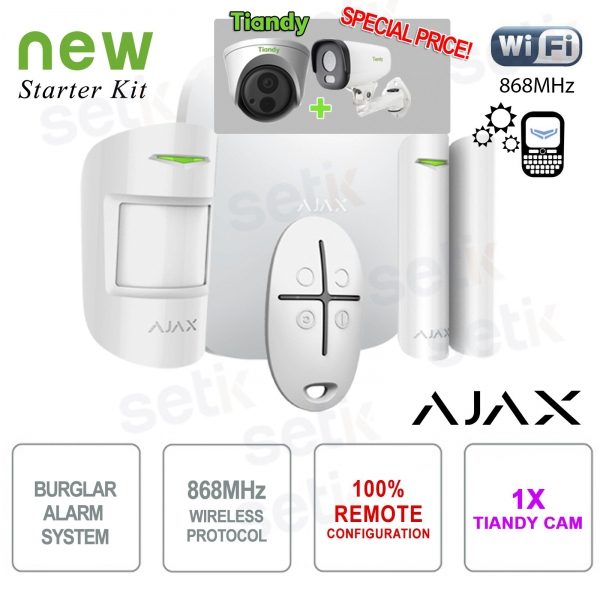 Kit de alarma inalámbrico profesional Promo AJAX + cámara IP Tiandy