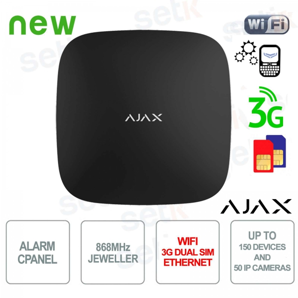 Central Ajax Alarm HUB WIFI 3G Dual SIM LAN 868MHz Black Version