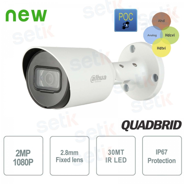 HD CVI 2MP 4in1 2.8mm IR POC outdoor camera Dahua