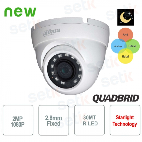 Telecamera Videosorveglianza Dahua 2 MP Ibrida 4in1 AHD 12 LED IR 2.8 MM Starlight