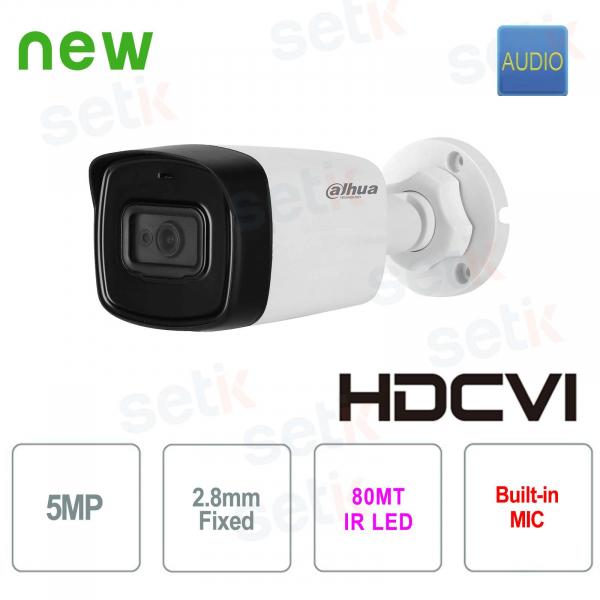 Telecamera Videosorveglianza esterno HD Dahua CVI 5 MP 2.8 mm Audio