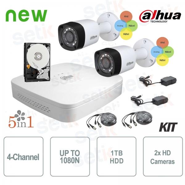 KIT Videosorveglianza Dahua HDCVI DVR 4 Canali 2 Telecamere Infrarossi