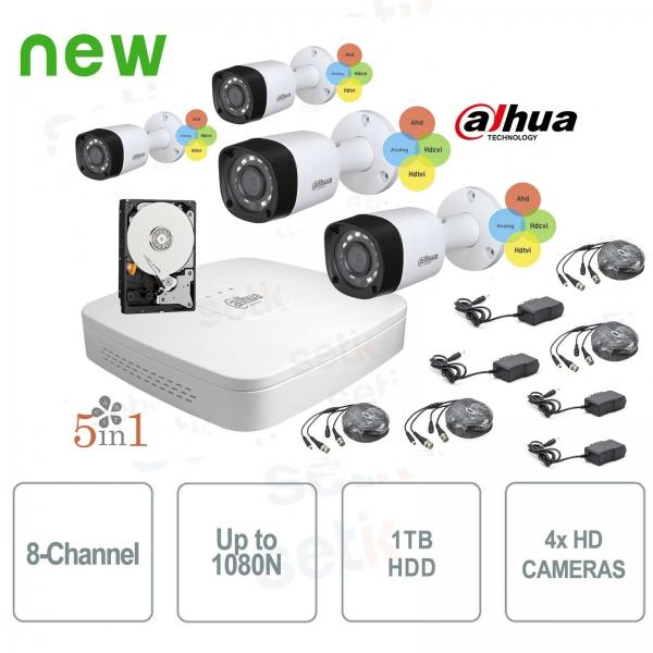 KIT Videosorveglianza Dahua HDCVI DVR 8 Canali 4 Telecamere Infrarossi