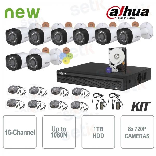 KIT Videosorveglianza Dahua HDCVI DVR 16 Canali 8 Telecamere Infrarossi