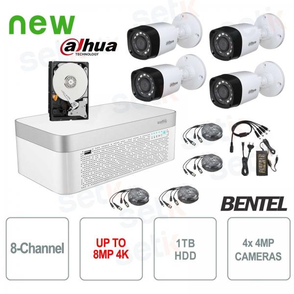 KIT Videosorveglianza Dahua HDCVI DVR 8 Canali 4K 4 Telecamere Infrarossi