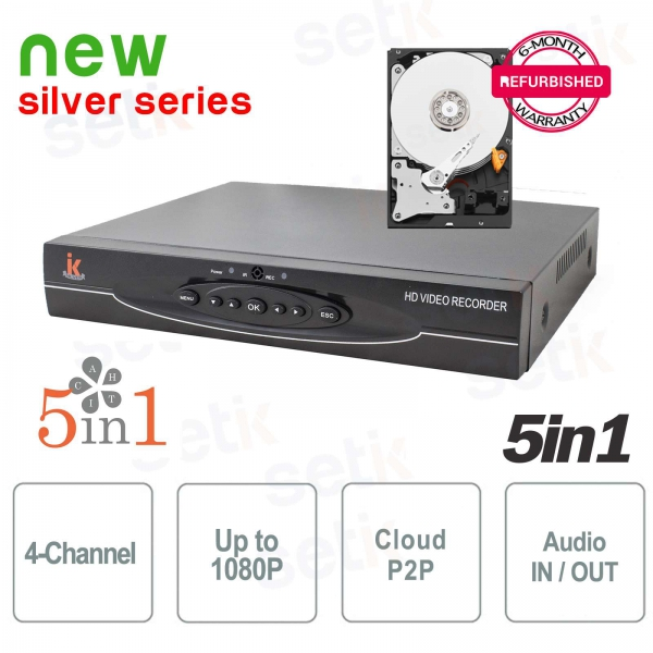 "DVR 4 Canali 5in1 ""AHD+TVI+CVI+ANALOGICO+IP"" 1080P Audio - Setik"