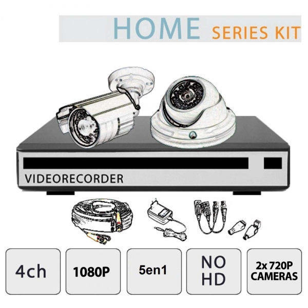 4ch CCTV kit - 1080P 5 in 1 recorder + 2 x 600TVL Dome cameras + CCTV sign and accessories - Home Series by Setik