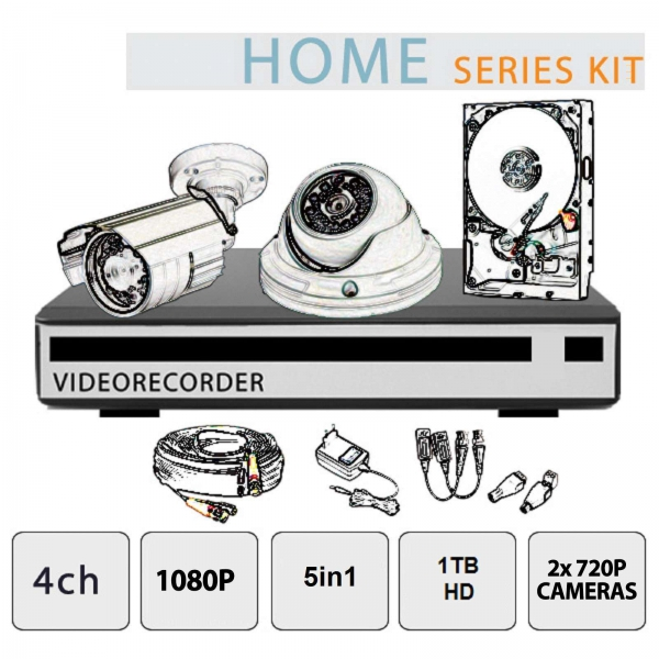 Video Surveillance Kit 4-Channel 1080P  2 Cameras HD - Home Series - Setik