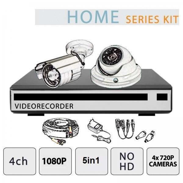 Kit Videosorveglianza 4 Canali 1080P 4 Telecamere NO HD - Serie Home - Setik