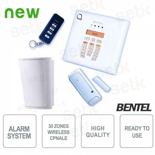 Kit Centrale Wireless Completo PIR 30 Zone - Antifurto Sicurezza - Bentel