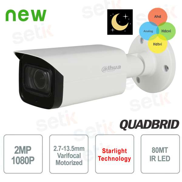 Dahua Motorized 2MP Hybrid Camera 4 in 1 Starlight IR 80 WDR POC
