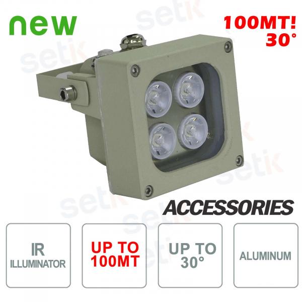 Illuminatore infrarosso per telecamere IR 4 LED 100M 30° - Setik
