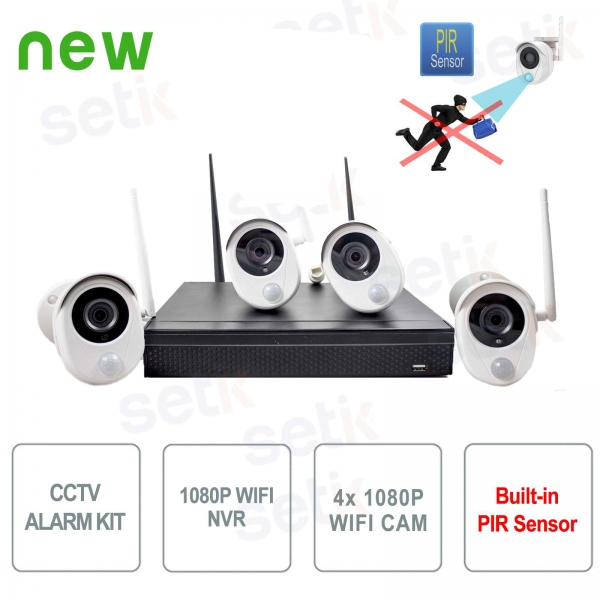 KIT Videosorveglianza WiFi IP 1080P 4CH + Telecamere IP PIR Allarme Setik