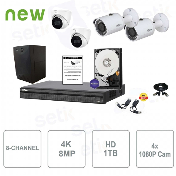 Kit Videosorveglianza Dahua 8 Canali 5in1 + HD e Cam