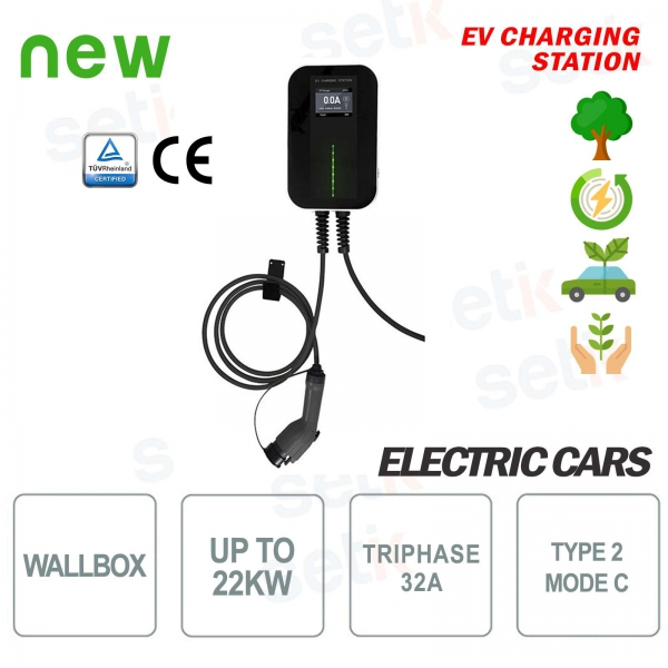 WallBox EV Electric Car Charging Station Three Phase 22Kw 6MT Cable
