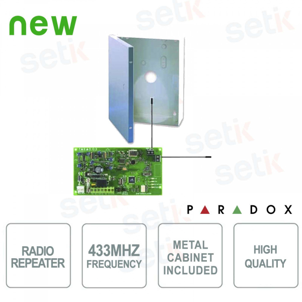 433 MHz Ripetitore Radio per rilevatori e accessori senza fili - Paradox