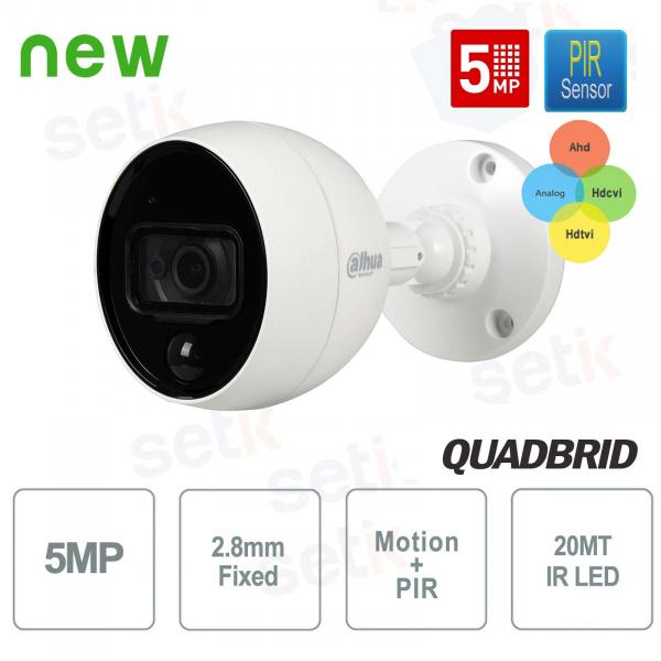 Telecamera esterna HD CVI 5MP 4in1 2.8mm PIR Allarme MotionEye Dahua