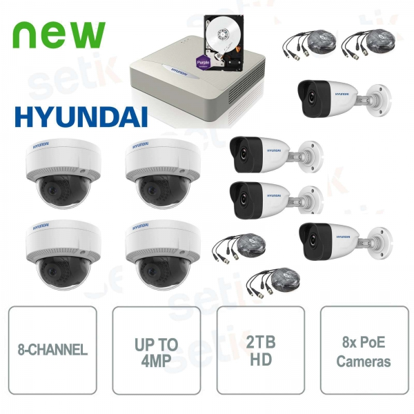 Video surveillance kit 8 channels IP 4MP + Cam PoE + HD - Hyundai