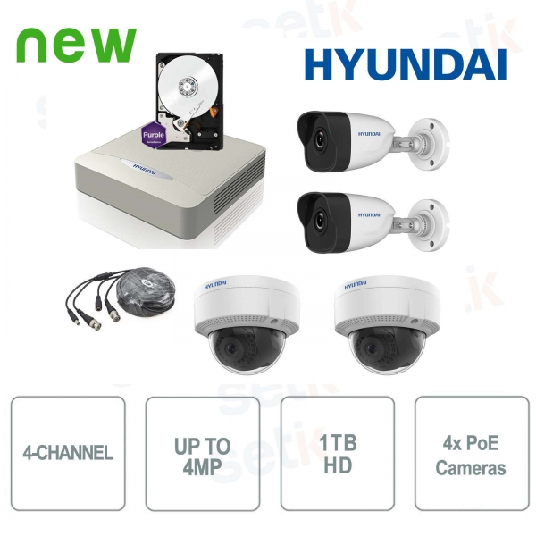 4-channel IP 4MP + Cam PoE + HD Video surveillance kit - Hyundai