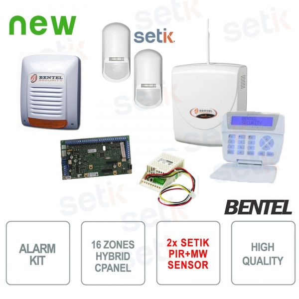 KIT Allarme Bentel Absoluta Antifurto Casa + Sensori Setik