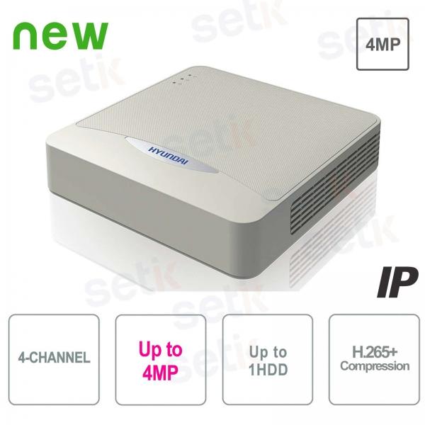 NVR 4 canales IP ONVIF 4 MP 40Mbps H.265 + P2P Hyundai