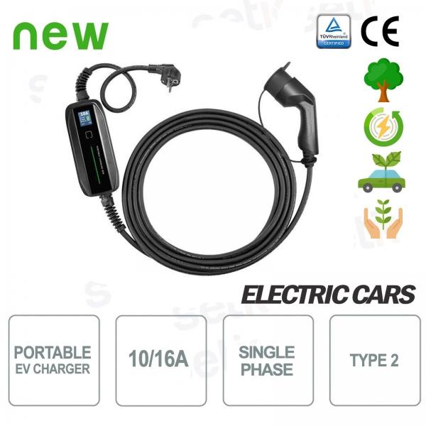 EV Cargador de coche eléctrico portátil tipo 2 Monofásico 10 / 16A Shuko - Setik