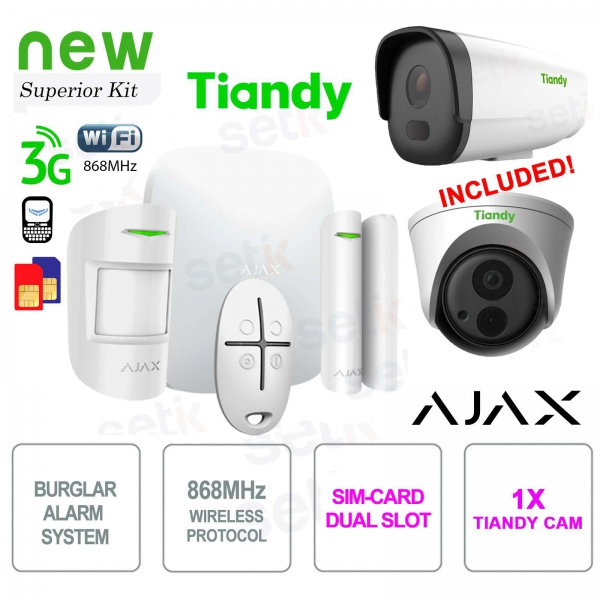AJAX Professional Wireless WIFI / 3G Dual Sim Alarm Kit + Tiandy IP Camera