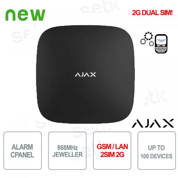 Panneau de commande d'alarme Ajax HUB GPRS / LAN 868MHz 2SIM 2G Version noire