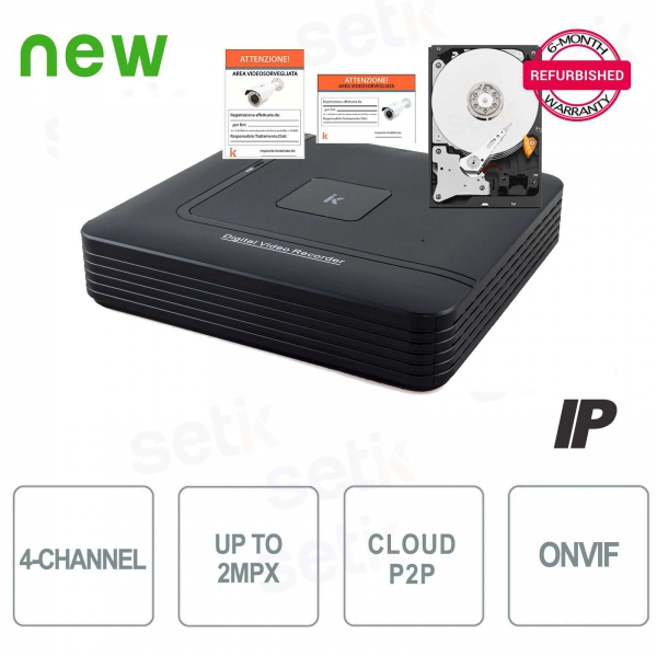 NVR IP 4-Channel H.264 - Up to 2 Mp - P2P + HD Setik