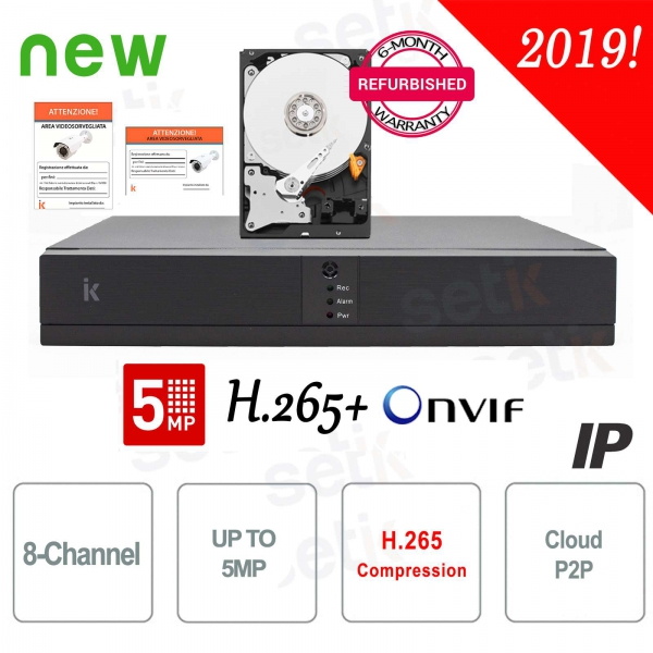 NVR 8 Channels ONVIF DVR IP 8ch up to 5MP + HD