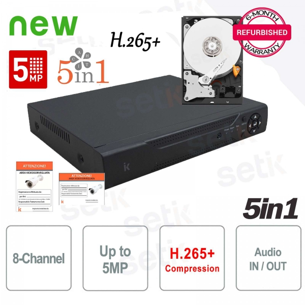 "DVR 8 Channels 5in1 ""ANALOG + AHD + TVI + CVI + IP"" 5Megapixel + HD Setik"