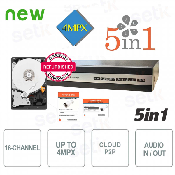 DVR 16-Channel 5in1 AHD / CVI / TVI / IP / ANALOG 4Megapixel + HDD