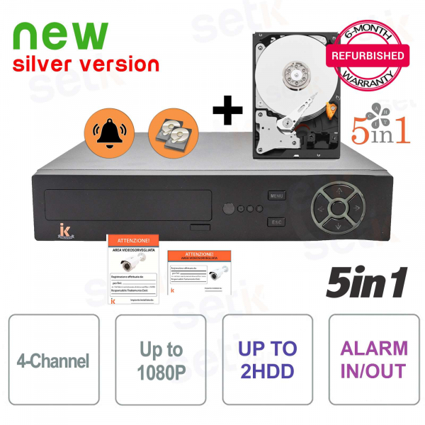 DVR 4 Channels 5in1 AHD / CVI / TVI / IP / ANALOGUE 1080P Alarm + HD
