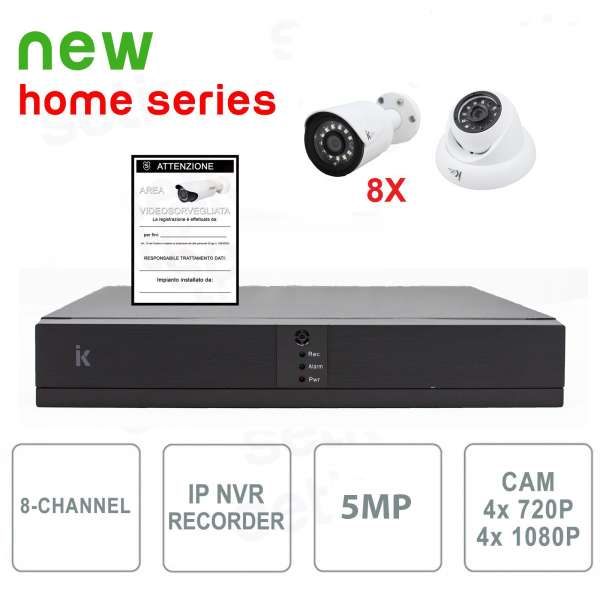 Kit Videosorveglianza 8 Canali IP 1080P 8 Cam No HD - Serie Home
