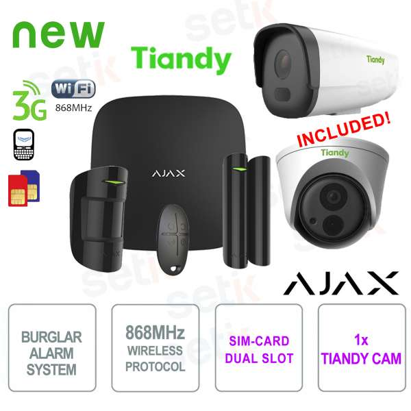 AJAX Kit Allarme Professionale Wireless WIFI / 3G Dual Sim Black + Telecamera IP Tiandy