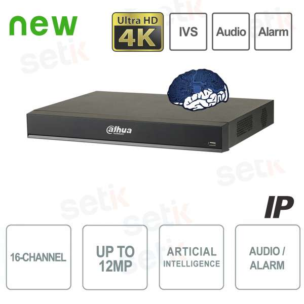 NVR IP 16 Canali H.265 4K 12MP 200Mbps Intelligenza Artificiale - Dahua
