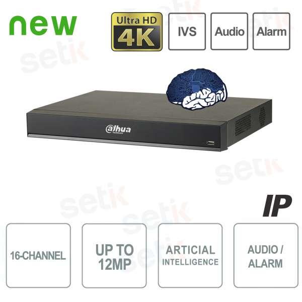 NVR IP 16 Canali H.265 4K 12MP 200Mbps Intelligenza Artificiale - Dahua