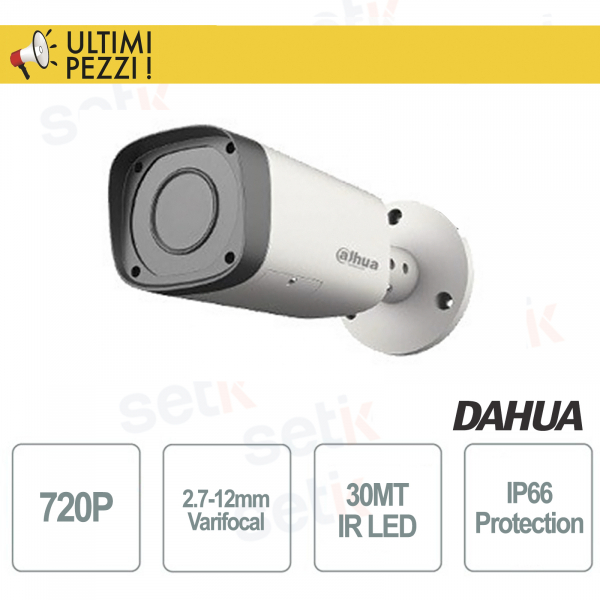 1MPX 720P IP66 HDCVI IR-Bullet Surveillance Camera - 2.7-12mm Varifocal Lens - DAHUA