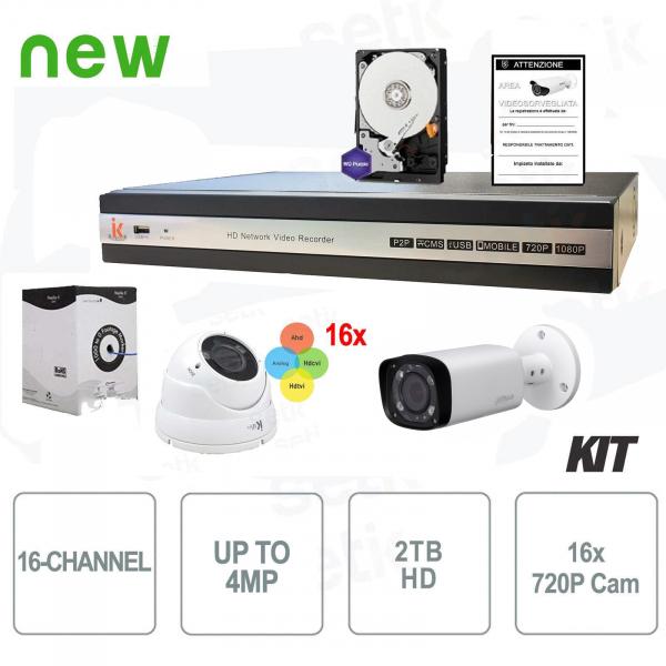 Kit Videosorveglianza 16 Canali HD Ibrido - Setik