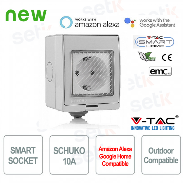 WIFI Socket Smart Home Presa Shuko esterna Alexa Google Home V-TAC