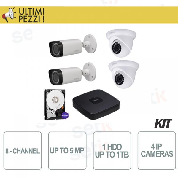 Kit Videosorveglianza 8 Canali IP 5mp + Telecamere Bullet IP + Telecamere Dome IP + 1HDD 1TB - Dahua