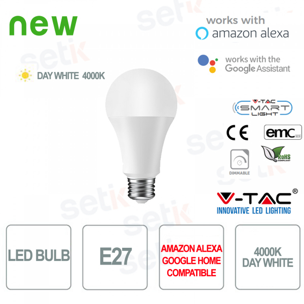 Smart Home LED Bulb E27 4000K Alexa Google Home V